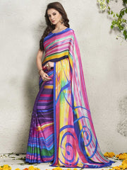 Multi Color Italian Crepe Digital Print Party Wear Sarees : Shrejita Collection  YF-44541