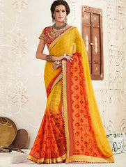 Red & Yellow Color Georgette Festival & Function Wear Sarees : Tinisha Collection  YF-44102