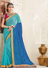 Light & Dark Blue Color Georgette Festival & Function Wear Sarees : Tinisha Collection  YF-44103