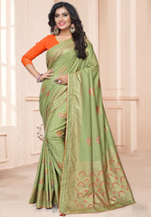 Pastel Green Color Raw Silk Kitty Party Sarees : Acharya Collection  NYF-2507