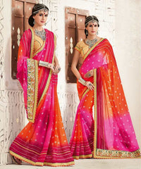 Pink & Orange Color Georgette Festival & Function Wear Sarees : Tinisha Collection  YF-44104