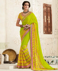 Parrot Green & Yellow Color Georgette Festival & Function Wear Sarees : Tinisha Collection  YF-44105