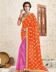 Pink & Orange Color Georgette Festival & Function Wear Sarees : Tinisha Collection  YF-44106