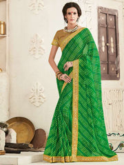 Green Color Georgette Festival & Function Wear Sarees : Tinisha Collection  YF-44107