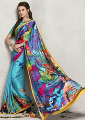 Firozi Color Italian Crepe Digital Print Party Wear Sarees : Shrejita Collection  YF-44547