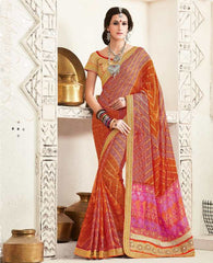Red & Orange Color Georgette Festival & Function Wear Sarees : Tinisha Collection  YF-44108