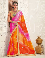 Pink & Orange Color Georgette Festival & Function Wear Sarees : Tinisha Collection  YF-44109