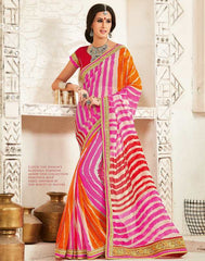Pink & Orange Color Georgette Festival & Function Wear Sarees : Tinisha Collection  YF-44110