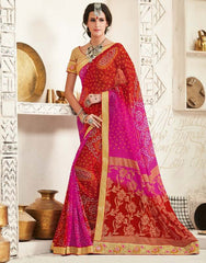 Red & Pink Color Georgette Festival & Function Wear Sarees : Tinisha Collection  YF-44111