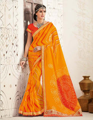 Mango Yellow Color Georgette Festival & Function Wear Sarees : Tinisha Collection  YF-44112