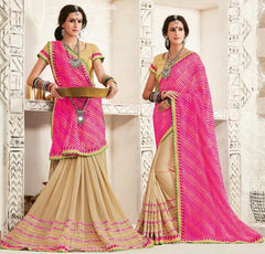 Light Coffee & Pink Color Georgette Festival & Function Wear Sarees : Tinisha Collection  YF-44113