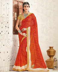 Red Color Georgette Festival & Function Wear Sarees : Tinisha Collection  YF-44114