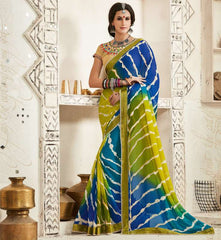 Green & Blue Color Georgette Festival & Function Wear Sarees : Tinisha Collection  YF-44115