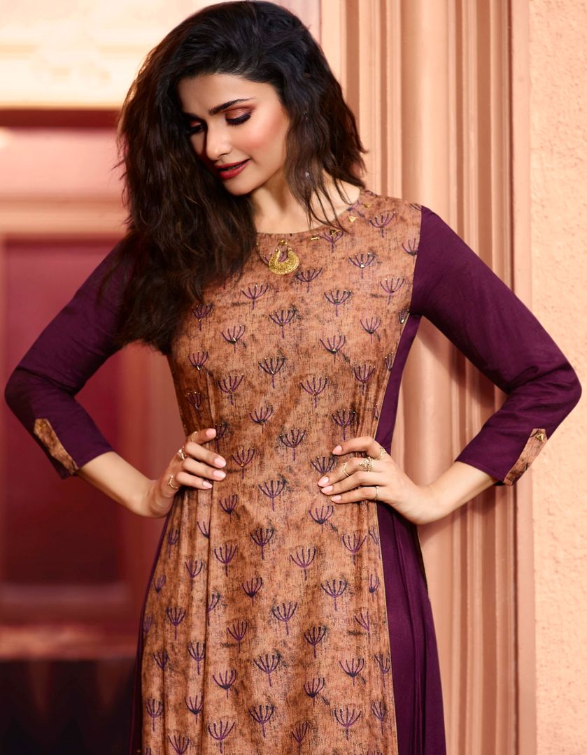 Peach & Purple Color Dola Silk With Polo Satin Inner Readymade Office Party Kurtis NYF-5083