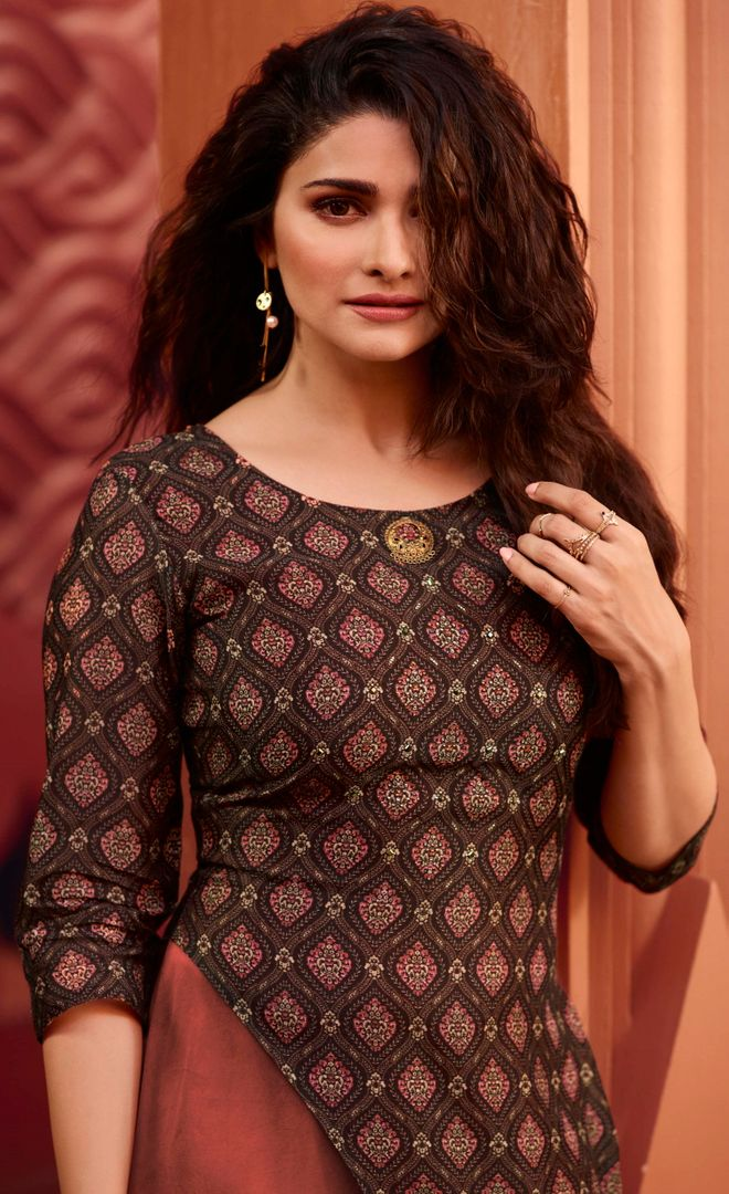 Brown Color Dola Silk With Polo Satin Inner Readymade Office Party Kurtis NYF-5095