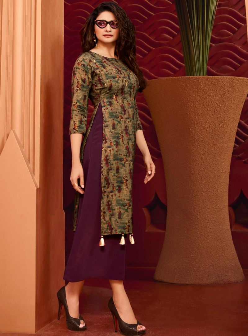 Purple Color Dola Silk With Polo Satin Inner Readymade Office Party Kurtis NYF-5101