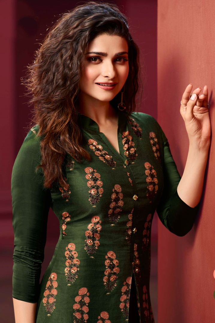Green Color Dola Silk With Polo Satin Inner Readymade Office Party Kurtis NYF-5107