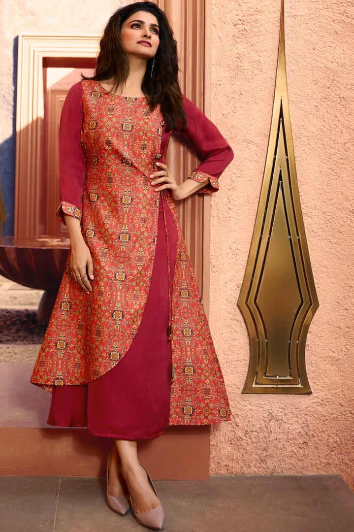 Pink Color Dola Silk With Polo Satin Inner Readymade Office Party Kurtis NYF-5113