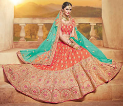 Orange & Sea Green Color Raw Silk Lehenga For Wedding Functions : Parimita Collection  YF-48129