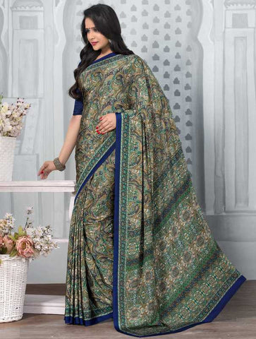 Green And Blue Color Crepe Office Wear Sarees : Tanuja Collection  YF-45295