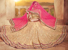 Pink & Golden Color Net Lehenga For Wedding Functions : Parimita Collection  YF-48130