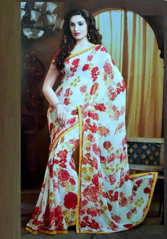 White and Shades of  Pink Color Chiffon Floral Print Sarees : Avika Collection  YF-23424