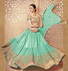 Aqua Green Color Net Lehenga For Wedding Functions : Parimita Collection  YF-48131