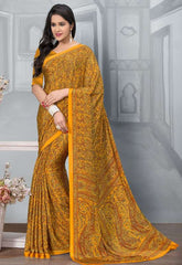 Yellow Color Crepe Office Wear Sarees : Tanuja Collection  YF-45297