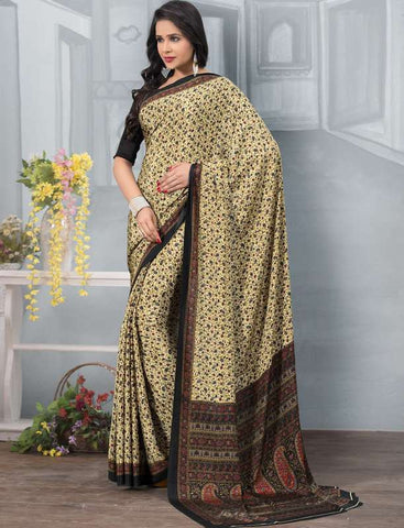 Cream And Black Color Crepe Office Wear Sarees : Tanuja Collection  YF-45298