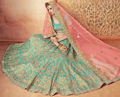 Sea Green & Pink Color Raw Silk Lehenga For Wedding Functions : Parimita Collection  YF-48133