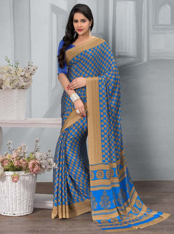 Blue Color Crepe Office Wear Sarees : Tanuja Collection  YF-45299