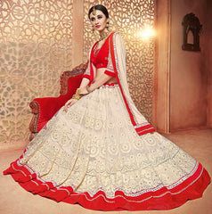 White & Red Color Net Lehenga For Wedding Functions : Parimita Collection  YF-48135