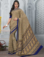 Blue And Orange Color Crepe Office Wear Sarees : Tanuja Collection  YF-45301