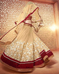 Golden & Maroon Color Net Lehenga For Wedding Functions : Parimita Collection  YF-48136