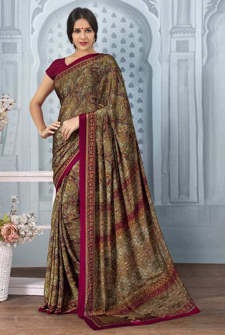Multi Color Crepe Office Wear Sarees : Tanuja Collection  YF-45302