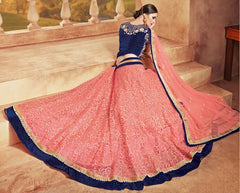 Pink & Blue Color Net Lehenga For Wedding Functions : Parimita Collection  YF-48137