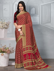 Red Color Crepe Office Wear Sarees : Tanuja Collection  YF-45303