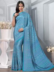 Firozi Color Crepe Office Wear Sarees : Tanuja Collection  YF-45304
