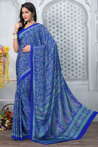 Blue Color Crepe Office Wear Sarees : Tanuja Collection  YF-45306