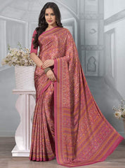 Pink Color Crepe Office Wear Sarees : Tanuja Collection  YF-45307