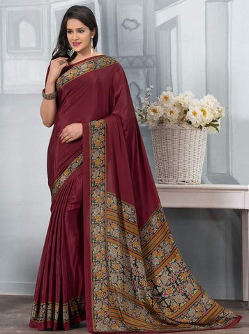 Maroon Color Crepe Office Wear Sarees : Tanuja Collection  YF-45308