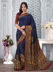 Blue Color Crepe Office Wear Sarees : Tanuja Collection  YF-45309