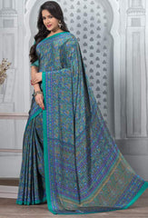 Blue And Green Color Crepe Office Wear Sarees : Tanuja Collection  YF-45310