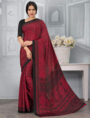 Red And Black Color Crepe Office Wear Sarees : Tanuja Collection  YF-45311