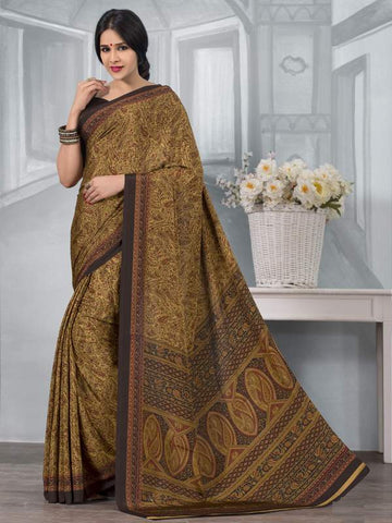 Mehendi Green Color Crepe Office Wear Sarees : Tanuja Collection  YF-45312