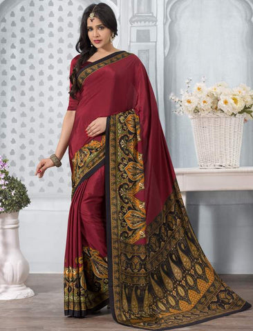 Maroon Color Crepe Office Wear Sarees : Tanuja Collection  YF-45315