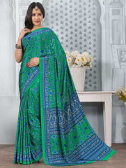 Green Color Crepe Office Wear Sarees : Tanuja Collection  YF-45316