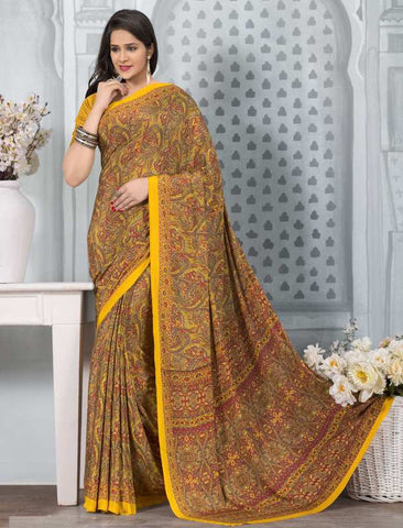 Yellow Color Crepe Office Wear Sarees : Tanuja Collection  YF-45317