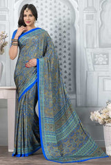 Blue Color Crepe Office Wear Sarees : Tanuja Collection  YF-45318