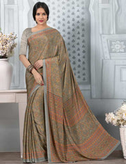 Grey Color Crepe Office Wear Sarees : Tanuja Collection  YF-45319